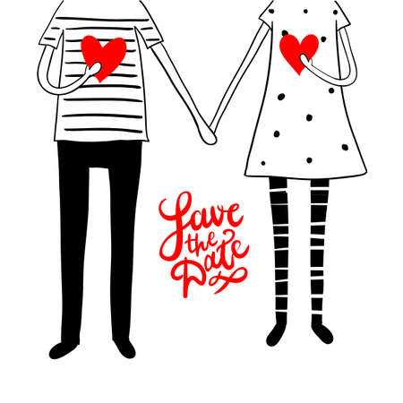 Illustration for Cute doodle couple with hearts and hand lettering save the date - Royalty Free Image