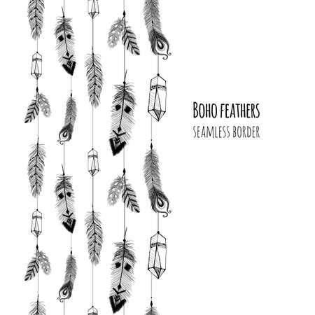 Illustration pour Textured feathers and crystals in aztec (boho) style. Seamless border. - image libre de droit