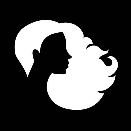 Illustration for Female head silhouette. Beauriful girl. Woman with long hair. Portrait. - Royalty Free Image