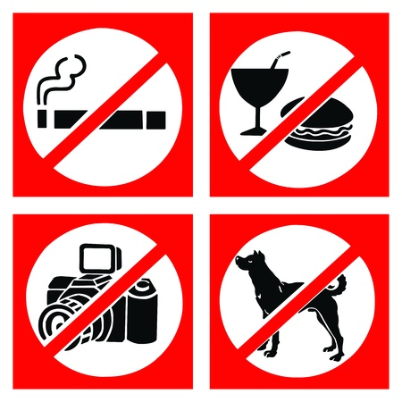 Set of prohibit sign include no smoking, no eating or drinking, no photo and no dog.