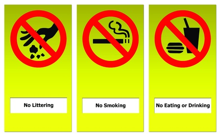 Set of prohibit sign include no eating or drinking, no littering and no smoking.