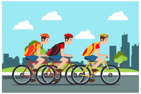 Young People rides a sports bike on a park road, Vector Illustration Bicycle man Suitable for Diagrams, Infographics, Book Illustration, Game Asset, And Other Graphic Related Assets