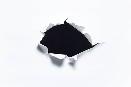 Photo for Abstract background of dark torn hole in white paper. - Royalty Free Image