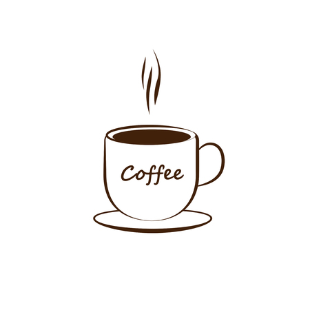 Icon with a cup of coffee. White background.