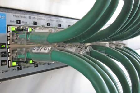 Green computer network cable in a data rack