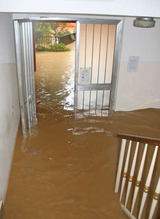 Photo pour entrance and staircase of the House invaded by mud during a flooding of the River - image libre de droit