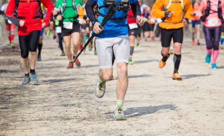 many athletes run in the outdoor race on the road