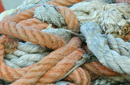 robust fishing ropes used by fishermen to moor the boat at the naval port