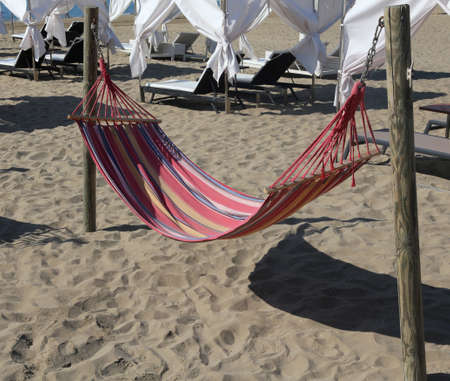 Hammock on the beach of the tourist resort for relaxation of tourists