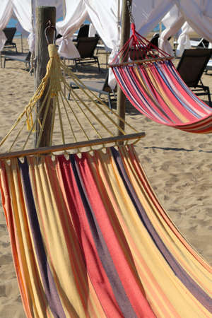 Hammock on the beach of the tourist resort for relaxation of tourists during the summer holidays