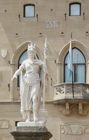 Warrior of white marble stone called Statue of Liberty in San Marino Microstate