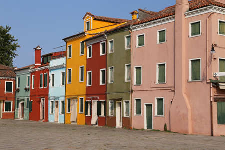 vivid colored houses on the island of Burano in Venice in Italy