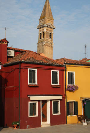 church bell tower in the old town of BURANO Island near Venice in italy