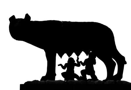 Foto de black shape of Capitoline Wolf called Lupa Capitolina in Italian language with twin founders of Rome Romulus and Remus - Imagen libre de derechos