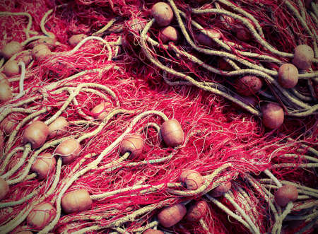 Foto de Red  fishing nets used by fishermen to fish with old toned effect - Imagen libre de derechos