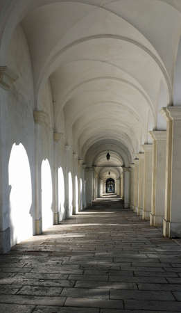 Ancient white Arches without people in Vicenza City in Italy called Portici di Monte Berico