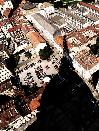 Photo for Aerial view from the famous monument called Mole Antonelliana and the huge shadow of the dome - Royalty Free Image
