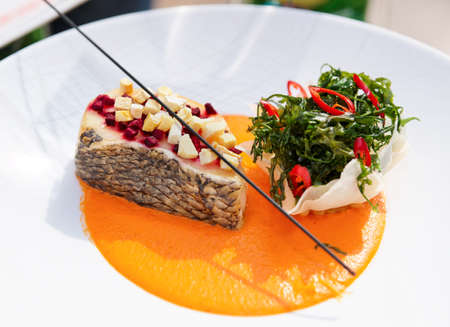 Seabass haute cuisine dish with herbs and vegetable puree