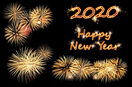 Photo pour New year 2020 greeting card with flash letters Happy new year 2020 and gold fireworks on a black - image libre de droit
