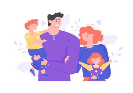 Illustration pour Happy family is standing together. Hug and smile. Joyful people dad, mom and two children. Vector illustration. - image libre de droit