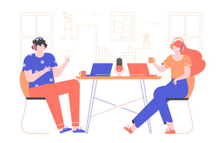 Illustration pour Record a podcast or tutorial webinar. Interview online. The guy and the girl are sitting are wearing headphones, laptops are on the table. Vector flat illustration with bright characters. - image libre de droit