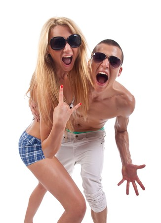 party couple screaming against a white background