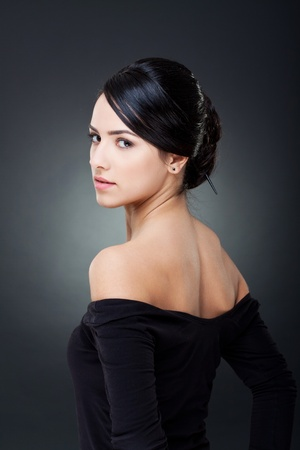 Fashionable photo of elegant girl with nice hairstyle