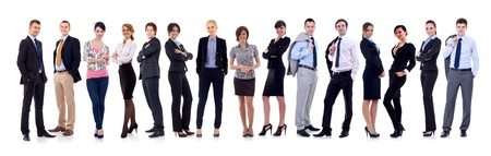 Photo for happy business team, isolated on white background - Royalty Free Image