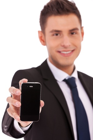 Image of man, business man, who shows the phone on white background