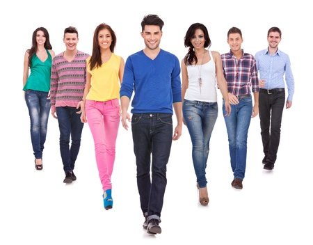 Large group of friends, young casual people,  walking together and looking at their future isolated on white background