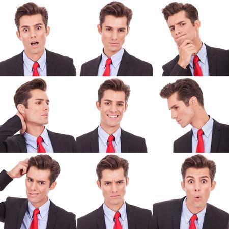 Foto de Collage group picture of many business man facial emotional expressions - Imagen libre de derechos