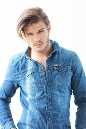 young man in jeans casual clothes with very cute face