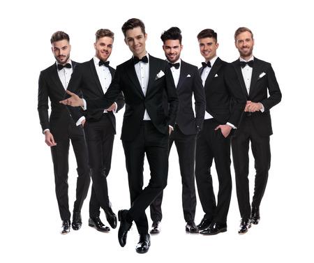 Photo pour happy elegant man in tuxedo presenting his team, collage image on white background - image libre de droit