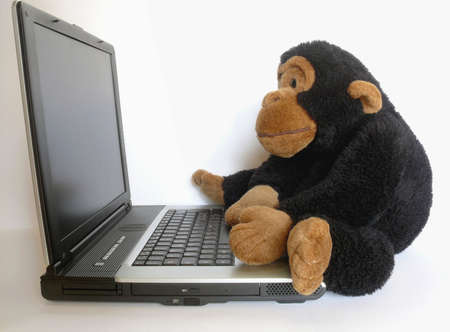 Close-up of a stuffed monkey sitting on a portable computer