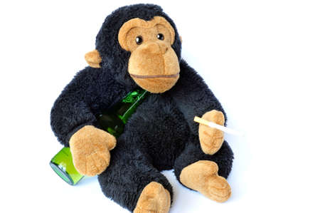 Abstract: fluffy monkey with beer and cigarette on white