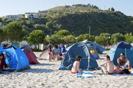 "Marina di Camerota, Salerno, Italy, May 27-28-29, 2011 : ""Meeting del mare�, the annual three days long concert for new emergent groups and singers. Here, youths camped out on the beach."