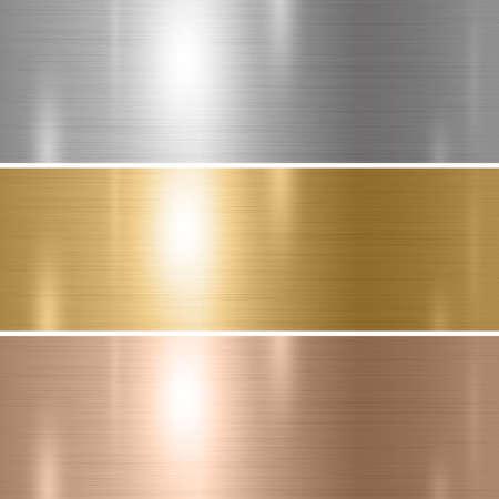 Illustration pour Set of silver gold copper metal texture background vector illustration - image libre de droit