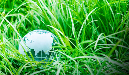 Photo pour Earth day concept of globe on green grass with copy space - image libre de droit