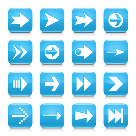 16 arrow icon set 02. White sign on blue rounded square button with gray reflection, black shadow on white background. Glossy style. Vector illustration web design element