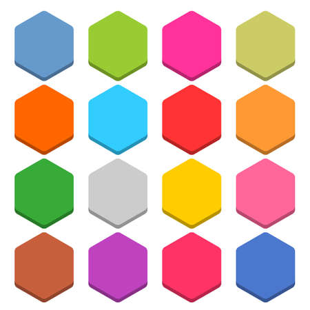 16 blank icon in flat style. Hexagon 3D button on white background. Blue, red, yellow, gray, green, pink, orange, brown, violet colors. Vector illustration web internet design element in 8 eps