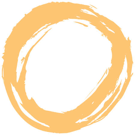 Use it in all your designs. Yellow brush stroke in the form of a circle. Inking drawing created in sketch handmade technique. Quick and easy recolorable shape. Vector illustration a graphic element