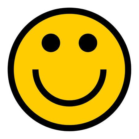 Ilustración de Smiley happy smiling face emoticon icon in flat style. Quick and easy recolorable shape. Vector illustration a graphic element - Imagen libre de derechos
