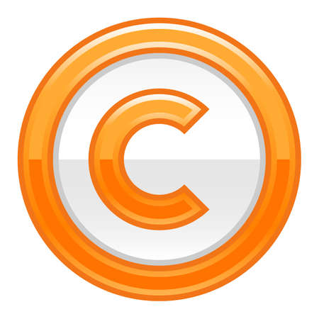Use it in all your designs. The copyright symbol, or copyright sign, a circled capital letter C. Orange rounded glossy button web internet icon. Vector illustration a graphic element for design.