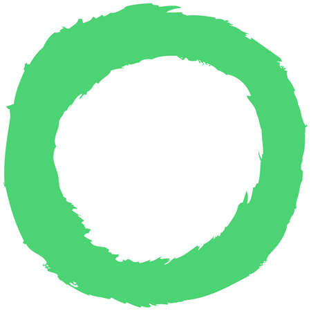 Green brush stroke in the form of a circle. Inking drawing created in sketch handmade technique. Quick and easy recolorable shape. Vector illustration a graphic element