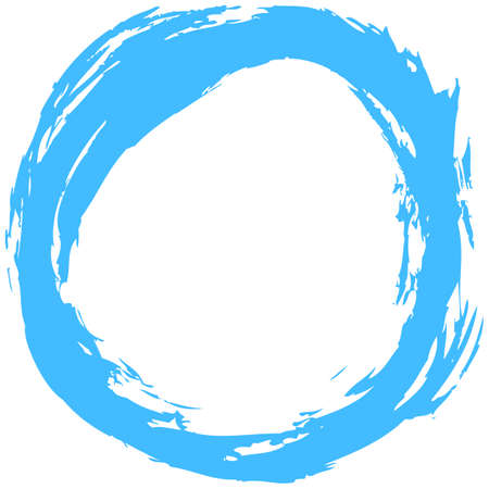 Use it in all your designs. Blue brush stroke in the form of a circle. Inking drawing created in sketch handmade technique. Quick and easy recolorable shape. Vector illustration a graphic element