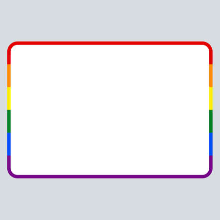 Use it in all your designs. Blank name tag sticker without HELLO my name is rectangular badge painted in the colors of the LGBT movement rainbow flag. Quick recolorable element in vector illustration
