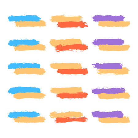 Set of fifteen brushstrokes colored paint created in sketch drawing handmade technique.