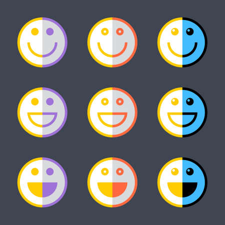 Colored smiley symbol or happy smiling face sign. Emoji or emoticon icon in flat style. Graphic element for design saved as an vector illustration in file format EPS