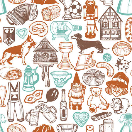 Illustration pour German Symbols Pattern. Seamless Background in Hand Drawn Style for Surface Design Fliers Banners Prints Posters Cards. Vector Illustration - image libre de droit