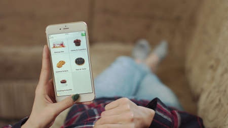 Photo pour Woman at Home Lying on Couch in Living Room Using Smartphone Buys in Internet Shop. Woman Orders Bakery Home In An Online Store Using a Smartphone. Female Selects Bakery in Grocery Online Store. POV - image libre de droit